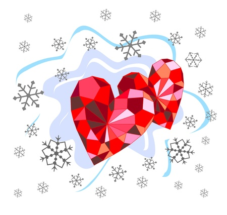 Beautiful background with ruby hearts and snowflakes