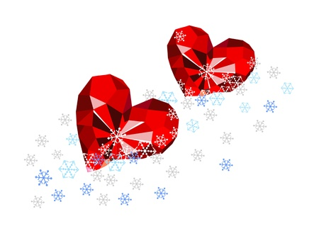 Ruby hearts in the snow