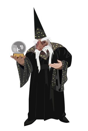 Magician with a magic ball in hand Illustration