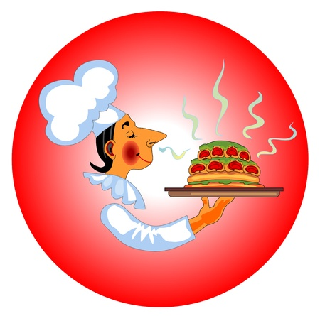icon with chef and fragrant dish in his hand Stock Vector - 17153075