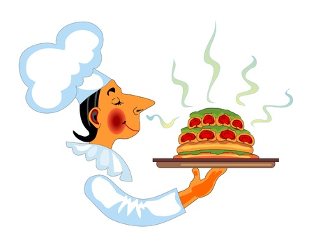 caterer: Chef with fragrant dish in hand  Illustration
