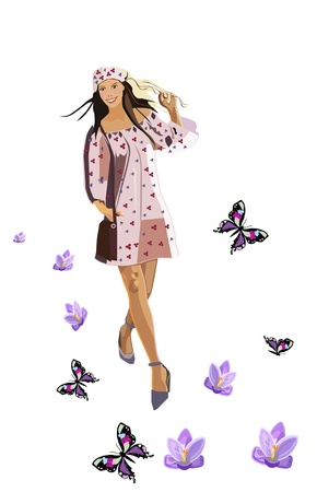 Beautiful girl walks on spring road with flowers and butterflies Illustration