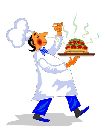caterer: Funny chef with fragrant dish in hand  Illustration