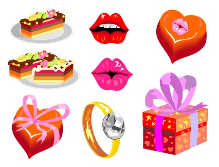 set of isolated images for Valentine s Day