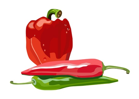peppers: vector isolated red and green peppers