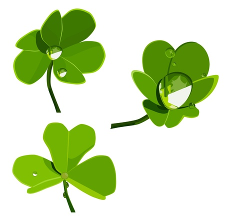 vector set of shamrocks with drops