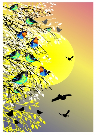 birds scenery: beautiful background with sun, birds and tree silhouette