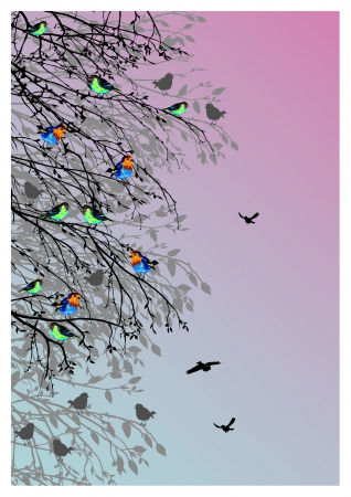 birds scenery: beautiful background with birds and tree silhouette