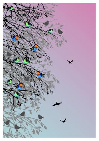arbol p�jaros: hermoso fondo con los p�jaros y la silueta del �rbol