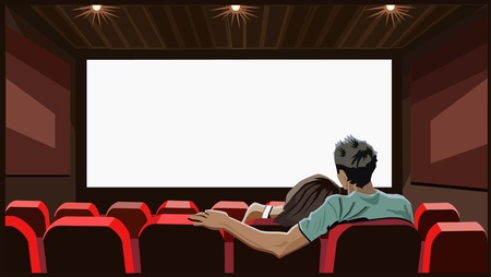 Lovers girl and boy front of screen in movie theater