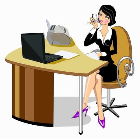 cute girl cartoon: Business woman sitting at the table Illustration