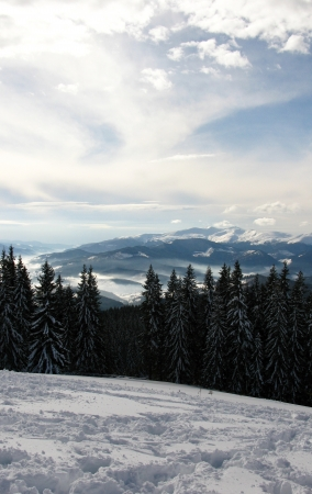 Beautiful winter sky over the mountain peaks Stock Photo - 17865199