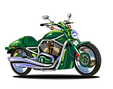 vector isolated green motorcycle  Vector