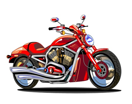 cartoon biker: realistic red motorcycle