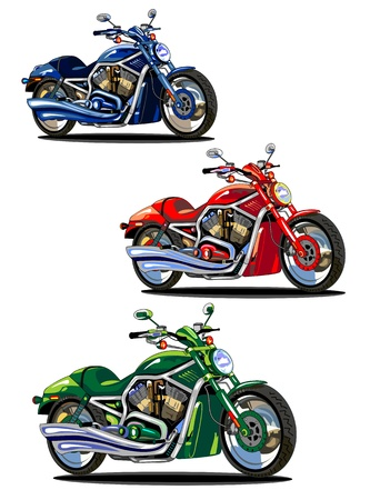 set of isolated bikes (green, blue and red)  Vector