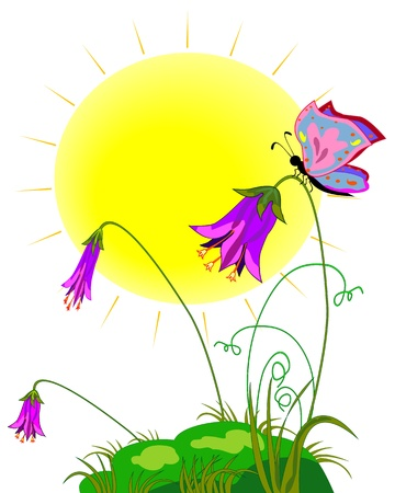 Painted meadow with the sun, flowers and butterflies Stock Vector - 18446724