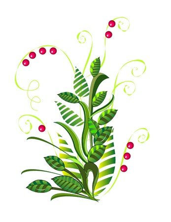 green abstract bush with berries  Illustration