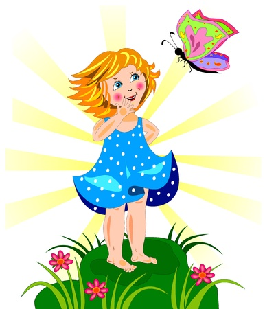 Beutiful little girl and butterfly Stock Vector - 18446721