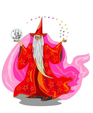 Magician in red robe  Vector