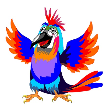 Vector isolated funny parrot  Illustration