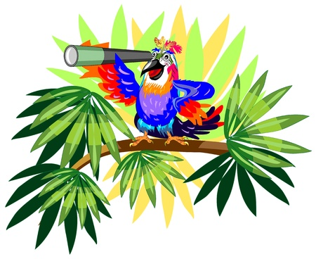 Funny parrot with telescope on palm  Illustration