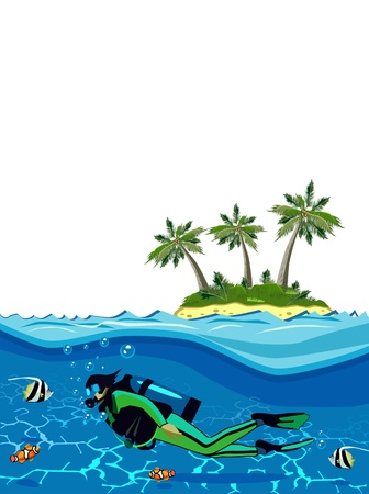 Diver swimming underwater near the island  Vector