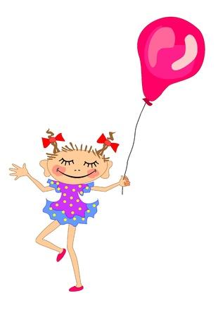 Funny girl with balloon Stock Vector - 19890201