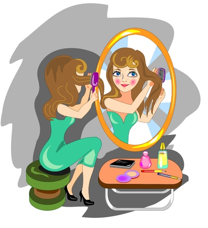Woman combing hair front of a mirror