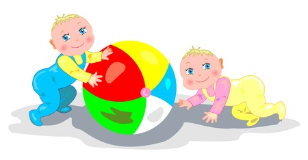 Babies playing with a ball  Illustration