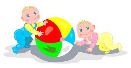 nenes jugando: Beb�s jugando con una pelota