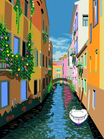italy landscape: illustration of Venice street  Illustration