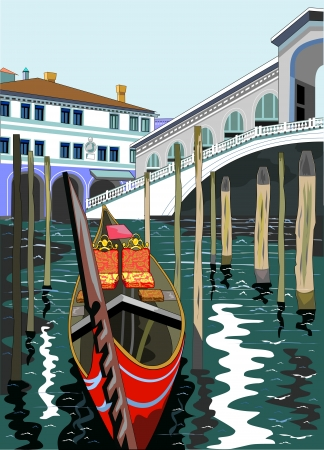 gondolier:  image of the Rialto Bridge in Venice