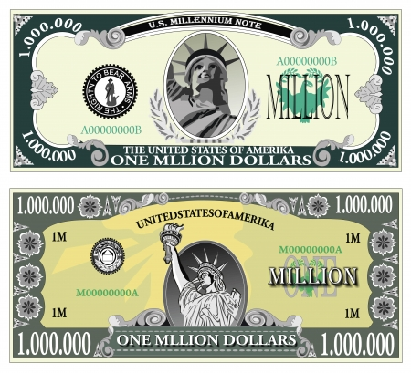 Sample banknote of a million dollars Illustration