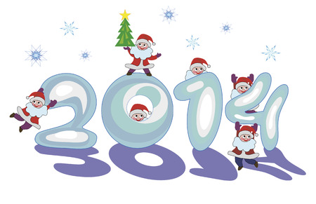 sign 2014 made   8203;  8203;of snow by Santa Claus  Vector