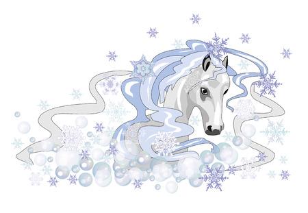 Christmas white horse