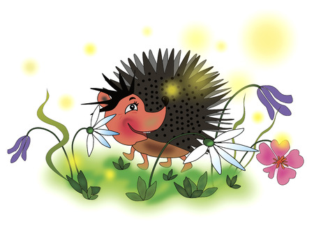 Cheerful hedgehog on the meadow with flowers