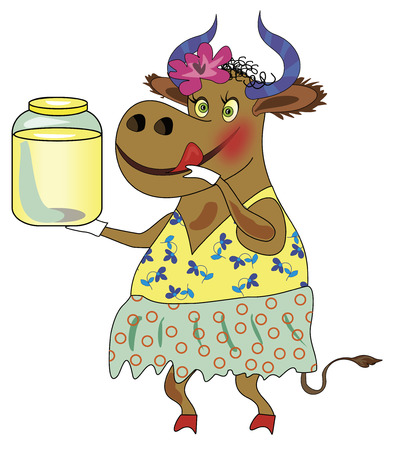 milker: Cheerful cow with a can of milk  Illustration