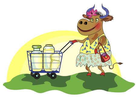 1057;heerful cow with shopping cart of milk Illusztráció