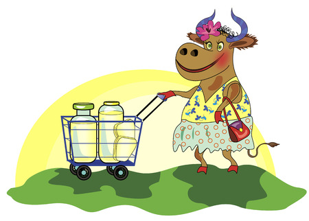 milker:   1057;heerful cow with shopping cart of milk Illustration