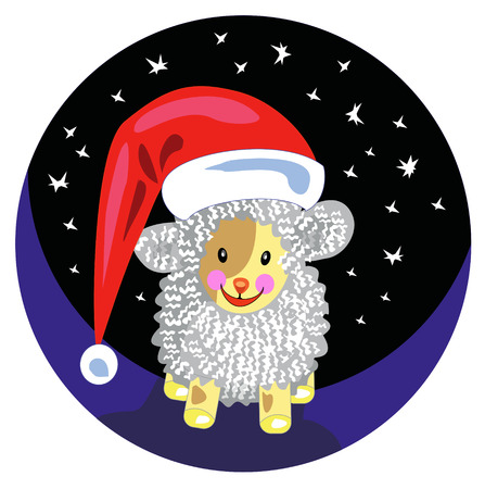 Funny sheep in the Santa Claus hat