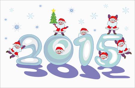 Funny Santa Claus on snowy figures 2015 Illustration
