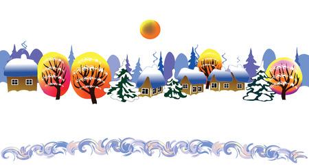 Christmas landscape in the village Illusztráció