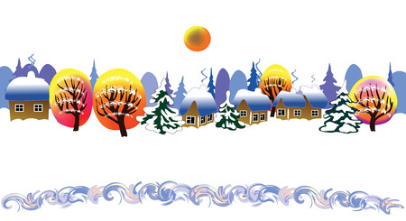 Christmas landscape in the village Illustration