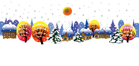 Christmas landscape with snowflakes