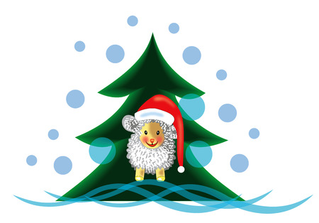 Sheep under the Christmas tree Stock Vector - 34772679