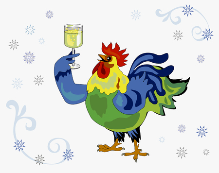 cock with champagne glass