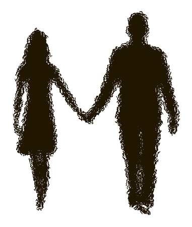 parting: disappearing silhouette of loving couple Illustration