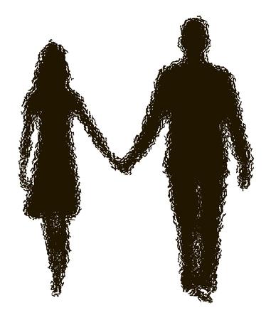 disappearing silhouette of loving couple Illusztráció