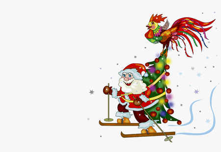 Santa Claus skiing with Christmas tree and a rooster