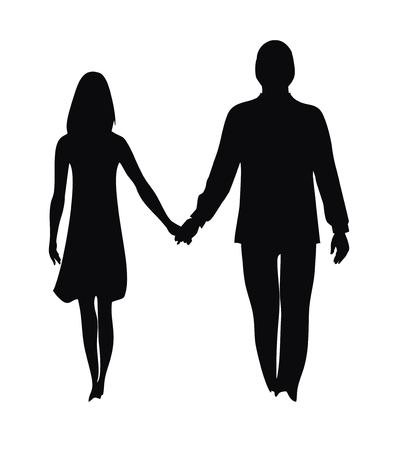 Silhouette of loving couple isolated on white background Illusztráció